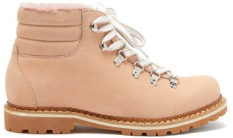 Montelliana Marlena Shearling And Nubuck Hiking Boots - Womens - Light Pink