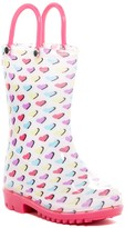 Capelli of New York Shiny Printed Heart Rain Boot (Toddler)