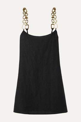 Solid & Striped Chain-embellished Linen-blend Mini Dress - Black