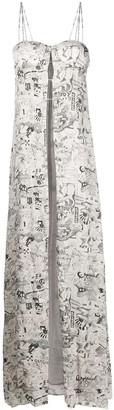 Off-White Printed Crepe Long Dress