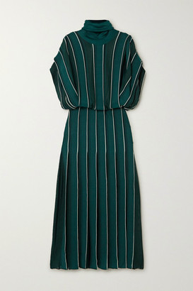 Givenchy Striped Knitted Turtleneck Midi Dress - Green