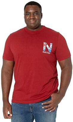 Nautica Big Tall Short Sleeve T-Shirt Crew Neck (Vintage Wine) Men's Clothing