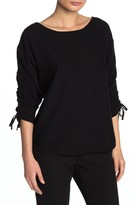 Max Studio Ruched Tie 3/4 Length Sleeve Sweater (Petite)