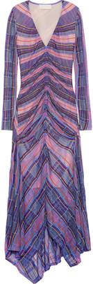Peter Pilotto Asymmetric Ruched Crochet-knit Midi Dress