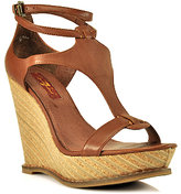7 For All Mankind Rayn - Cognac Leather Ankle Strap Wedge