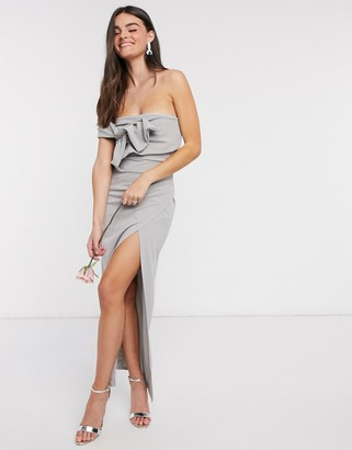 Little Mistress bow detail one-shoulder bridesmaid dress with side split in light grey