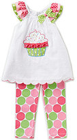 Rare Editions Baby Girls 12-24 Months Cupcake-Applique Top & Dotted Leggings Set