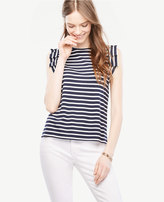 Ann Taylor Pleated Sleeveless Striped Top