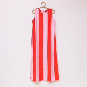 Wild Pony - Pink And Red Striped Dress - L - Red/Pink
