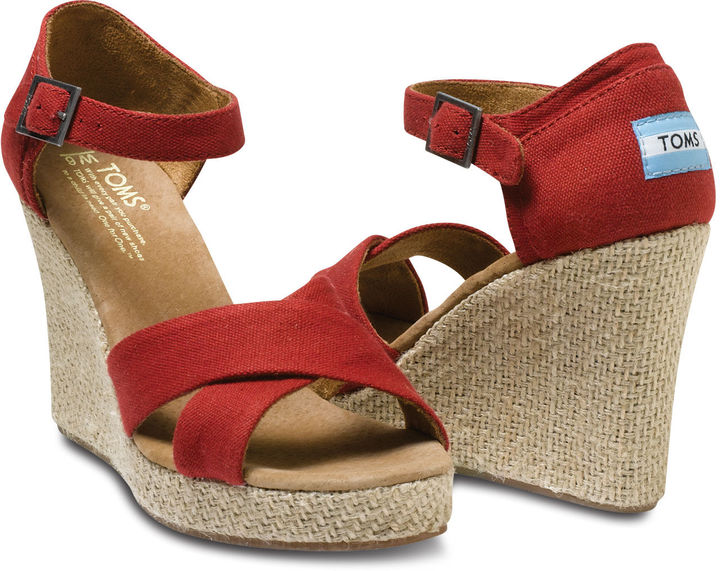 Toms Black Canvas Women's Strappy Wedges