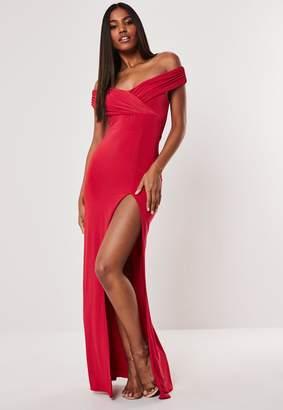 Missguided Red Bardot Wrap Slit Slinky Maxi Dress