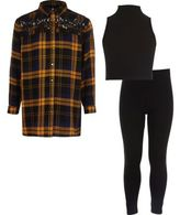 River Island Girls blue check shirt, top, leggings set