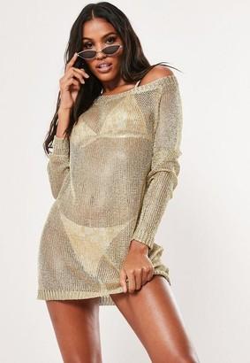 Missguided Gold Metallic Off Shoulder Sweater Dress