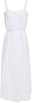 Vince Belted Pleated Linen-blend Midi Dress