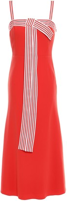Lela Rose Bow-embellished Striped Stretch-cady Midi Dress