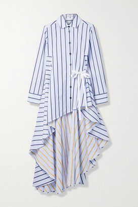 Palmer Harding Super Draped Asymmetric Striped Cotton-poplin Shirt - White