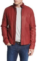 Loro Piana Leather Biker Jacket w/Suede Trim, Merlot