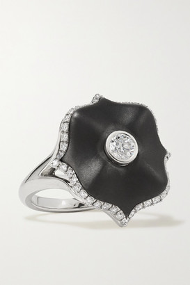 Bayco Platinum, Diamond And Ceramic Ring - Black