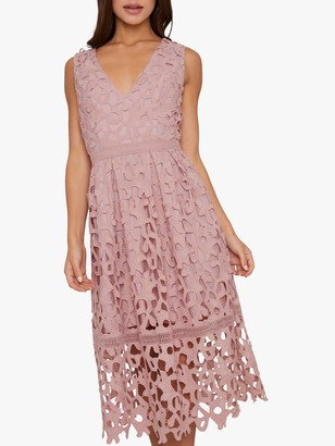 Chi Chi London Sersa Crochet Midi Dress, Mink
