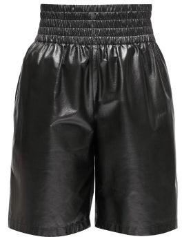Bottega Veneta Elasticated-waist Leather Shorts - Womens - Black