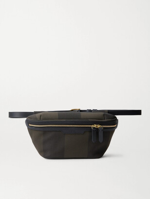 Mismo Leather-Trimmed Checked Cotton-Canvas Belt Bag