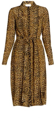 Saint Laurent Leopard-Print Silk Shirtdress