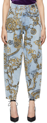 Versace Jeans Couture Blue & Gold Regalia Baroque Print Tapered Jeans