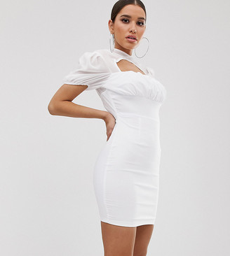 Naanaa NaaNaa ruched mini dress with sheer halter neck in white