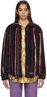 Martine Rose NAPA by Red Striped Fleece Button-Up Jacket