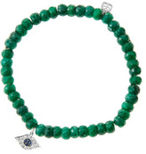 Sydney Evan 6mm Faceted Emerald Beaded Bracelet with 14k White Gold/Diamond Small Evil Eye Charm (Made to Order)
