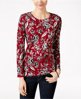 Charter Club Floral-Print Long-Sleeve Top, Only at Macy's
