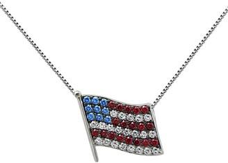 Diamonique 1.35 cttw Flag Pendant w/chain, Platinum Plated