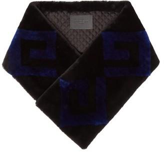 Givenchy Logo Shearling Scarf - Blue