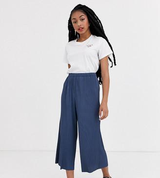 Asos DESIGN Petite plisse culotte trousers-Grey