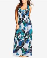 City Chic Trendy Plus Size Palm-Print Maxi Dress