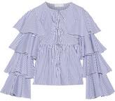 Caroline Constas Nina Ruffled Striped Cotton Oxford Jacket - Blue