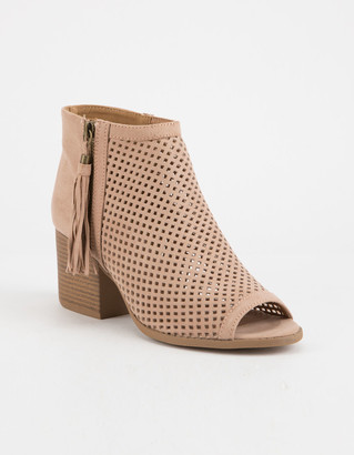 Qupid Peep Toe Perforated Womens Taupe Booties