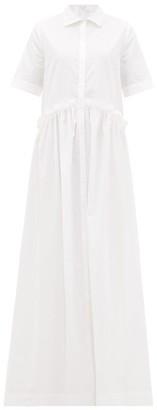 story. White Masquerade Ruffled Cotton Shirt Dress - Womens - White