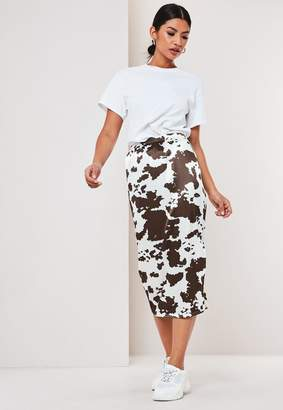 Missguided White Cow Print Satin Slip Skirt
