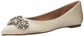 Badgley Mischka Women's Eavan Loafer Flat Ivory Satin 6.5 M US