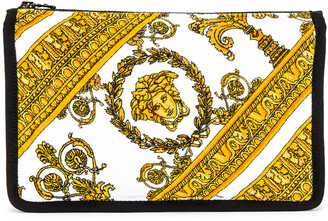 Versace I Heart Baroque Big Cosmetic Case in White & Gold & Black   FWRD