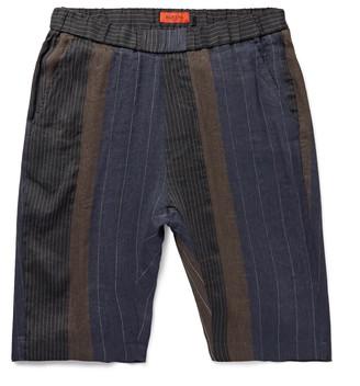 Barena Slim-Fit Patchwork Striped Linen And Cotton-Blend Shorts