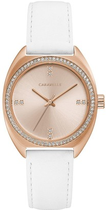 Bulova Caravelle by Crystal Watch w/ White Leather Strap