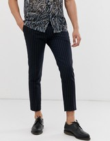 Twisted Tailor tapered cropped pants in neon pinstripe