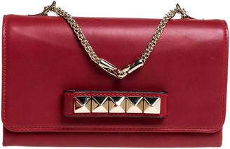 Valentino Red Leather Medium Va Va Voom Chain Shoulder Bag
