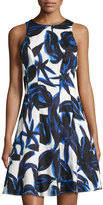 Maggy London Fit-and-Flare Floral-Print Dress, Royal