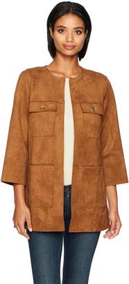 Ruby Rd. Women's Open-Front Heavy Stretch Suede Jacket with Patch Pockets