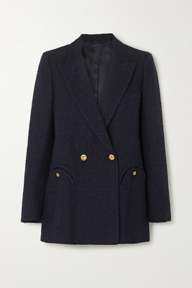 BLAZÉ MILANO Everyday Double-breasted Cotton-blend Boucle Blazer - Navy
