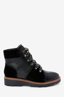Next Womens Black Wedge Boots - Black