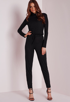 Missguided Long Sleeve Ribbed Drawstring Romper Black